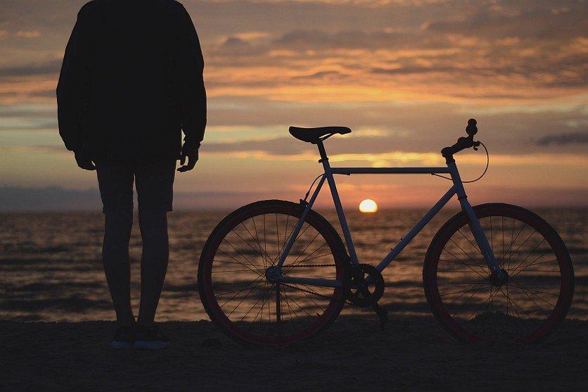 Bike on beach photo